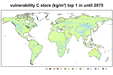 Global map showing the vulnerability of soil organic C